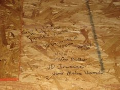 Hidden messages by our group for the new Habitat homeowners