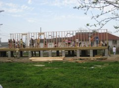 Building the first walls of a home